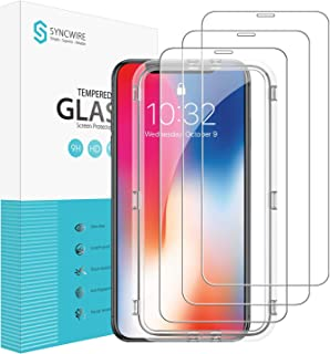 Syncwire iPhone XS/X Screen Protector [3 Packs], 9H Hardness HD Tempered Glass with Installation Frame for iPhone Xs/X [Face ID Protection, 2.5D Round Edge, Anti-Scratch, 3D Touch]
