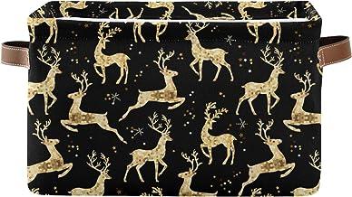 Mnsruu Duży składany kosz do przechowywania z uchwytami, Boże Narodzenie złoty jeleń tkanina składane pojemniki do przecho...