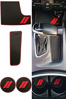 GRIDREADY Custom Fit for 2015-2020 Dodge Charger Cup Holder Insert & Center Console Shifter Liner Trim Mats | Custom Fit Non Slip Storage Bin Mat Set | Interior Accessories (4 pcs)