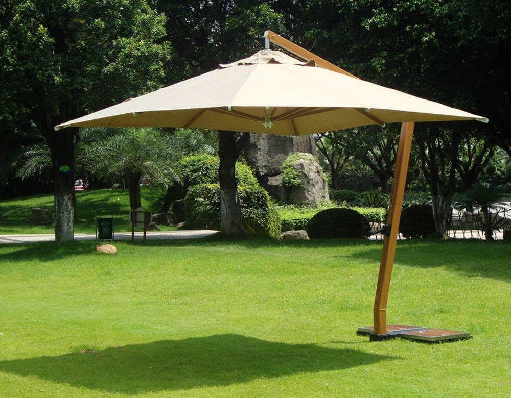 Sombrilla cuadrada, 3,5 x 3,5 m, color madera y poliéster,-PEGANE ...