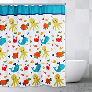 Bathroom Shower Curtains for Boys and Girls, Multicolored Fun Sea Creatures Design with 12 Plastic Hooks Included