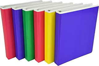 Samsill Fashion Color Pocket Tinted Overlay 3 Ring Binder, 1 Inch Round Rings, Customizable, Assorted Colors (Pink, Purple, Green, Yellow), Bulk Binders - 6 Pack