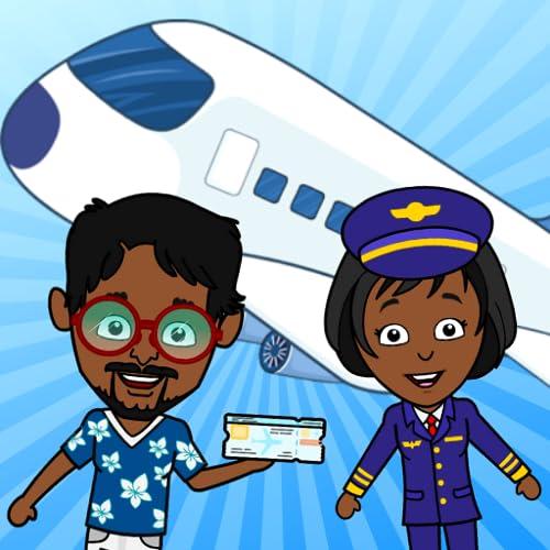 Tizi Town - My Airport Games For Girls & Boys, Avión gratuito para que los niños viajen por el mundo
