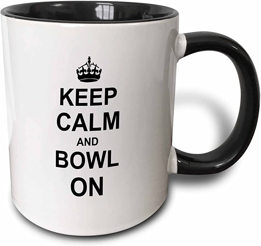 3dRose 157693 4 Keep Calm Carry On Bowling Gift For Bowlers Black White Mug 11 Oz