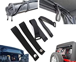 AUFER Newest Rear Window Straps Replacements and Soft Top Straps Tie Down Straps Sunrider Straps, for Jeep Wrangle 2007-2019, Black