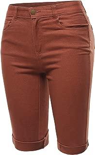 A2Y Women's Mid Rise Cotton Cuffed Hem Casual Fashion Bermuda Shorts