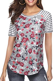 Women's Blouse Short Sleeve Floral Print T-Shirt Comfy Casual Tops for Women