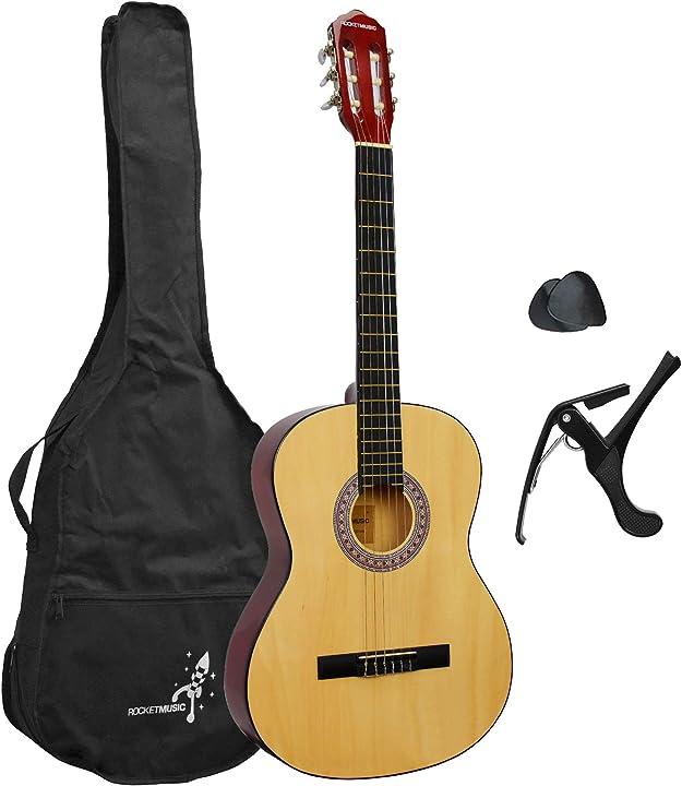 Classica 4/4 completa di accessori capotasto, plettri, borse per chitarra classica, tracolle rocket xf201an xf