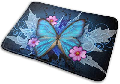 Crystal Blue Butterfly Flower Bath Mat Dream Flower Non Slip Super Bathroom Rug Indoor Carpet Doormat Floor Dirt Trapper Mats Shoes Scraper 24x16 Inch