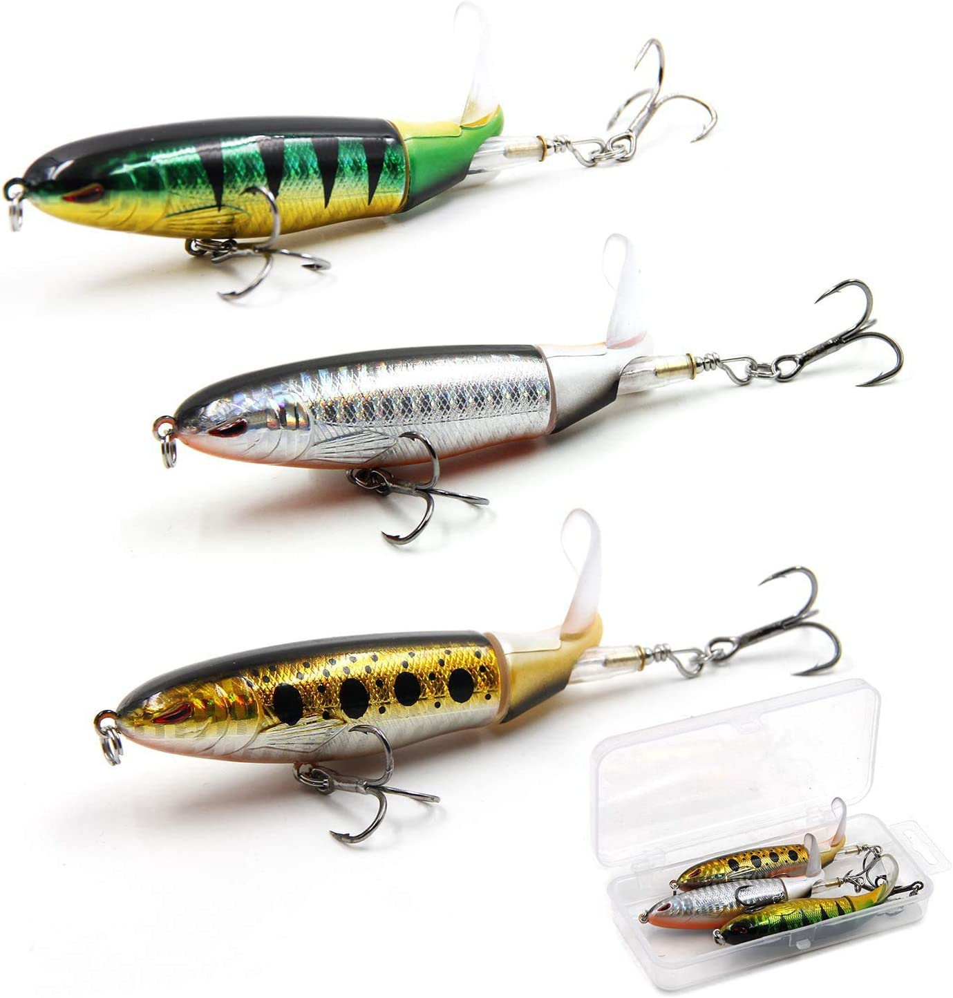 GUFIKY Lure Set 5-Pack Whopper Popper Fishing Lures Combo 5.13 inch//0.56 oz with Rotating Spins Tail for Bass,Trout,Walleye,Pike and Musky Topwater Floating Hard Baits