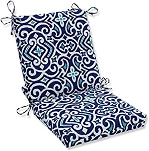 Pillow Perfect Outdoor/Indoor New Damask Marine Square Corner Chair Cushion, 36.5