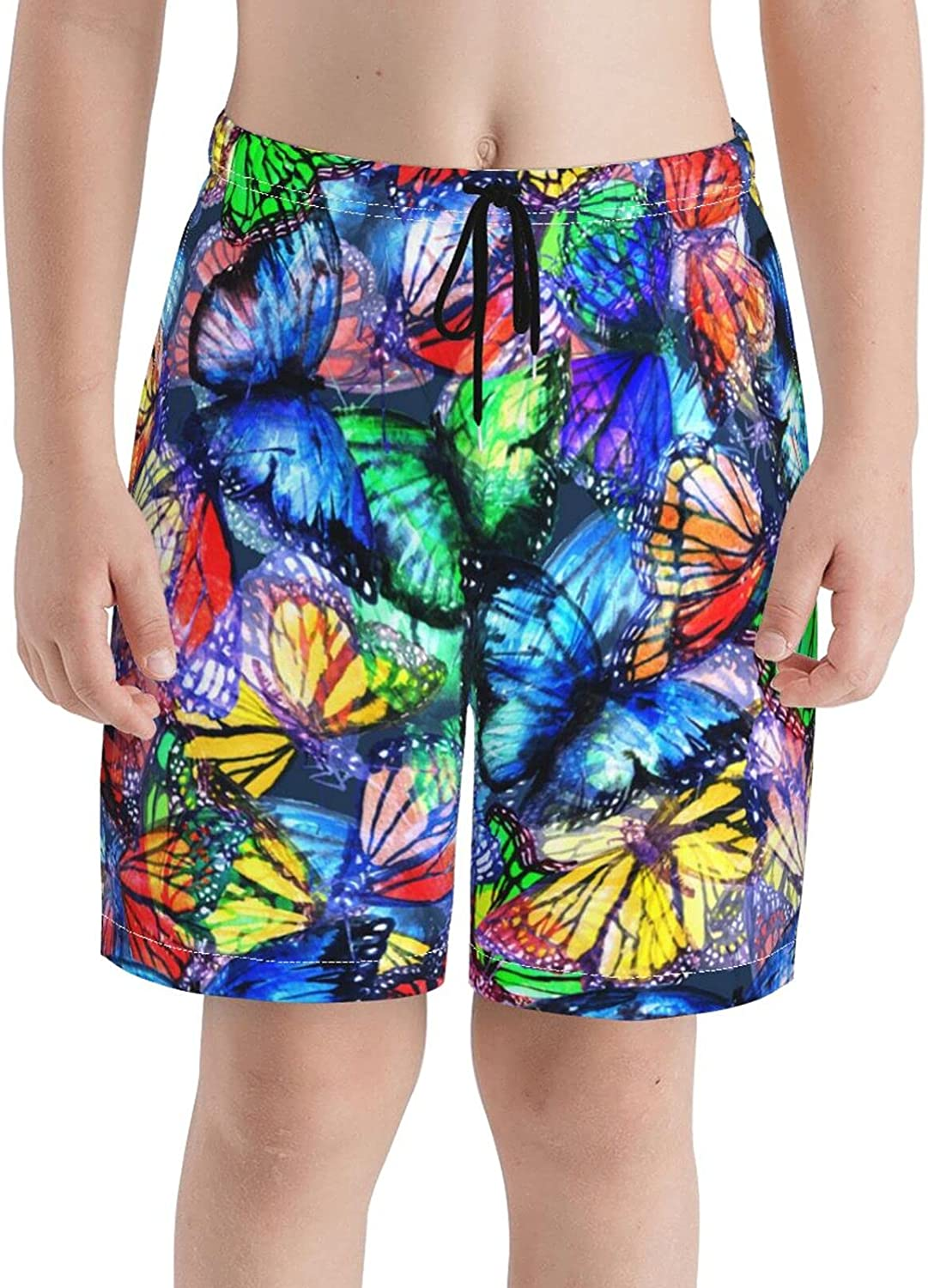 Butterfly Color Boys Quick Dry Swim Trunks Youth Soft Beach Surfing Board Shorts 7-20 Years