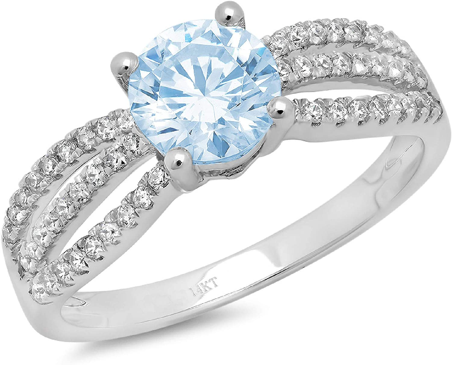 1.25ct Brilliant Round Cut Solitaire Accent Genuine Flawless Blue Simulated Diamond Gemstone Engagement Promise Anniversary Bridal Wedding Ring Solid 18K White Gold