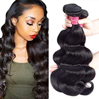 Geoyern Brazilian Virgin Hair 3 Bundles Body Wave Weft 10A Unprocessed Human Hair Weave Extensions Natural Color 3pcs (14 16 18)