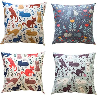 Homeguru Pillow Cases Set of 4 Cat Images Cushion Cover Throw Pillow Covers Home Decoration Square Pillowcase,18 Inches x 18 Inches (Cat Image)