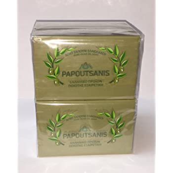 Papoutsanis Pure Greek Olive Oil Soap Of Bars, 8.8 oz, Pack Of 4 (250g)