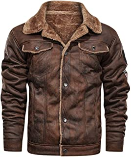 Autumn Winter Men's Vintage Turn-Down Collar Solid Single Breasted Plus Velvet Leather Coat