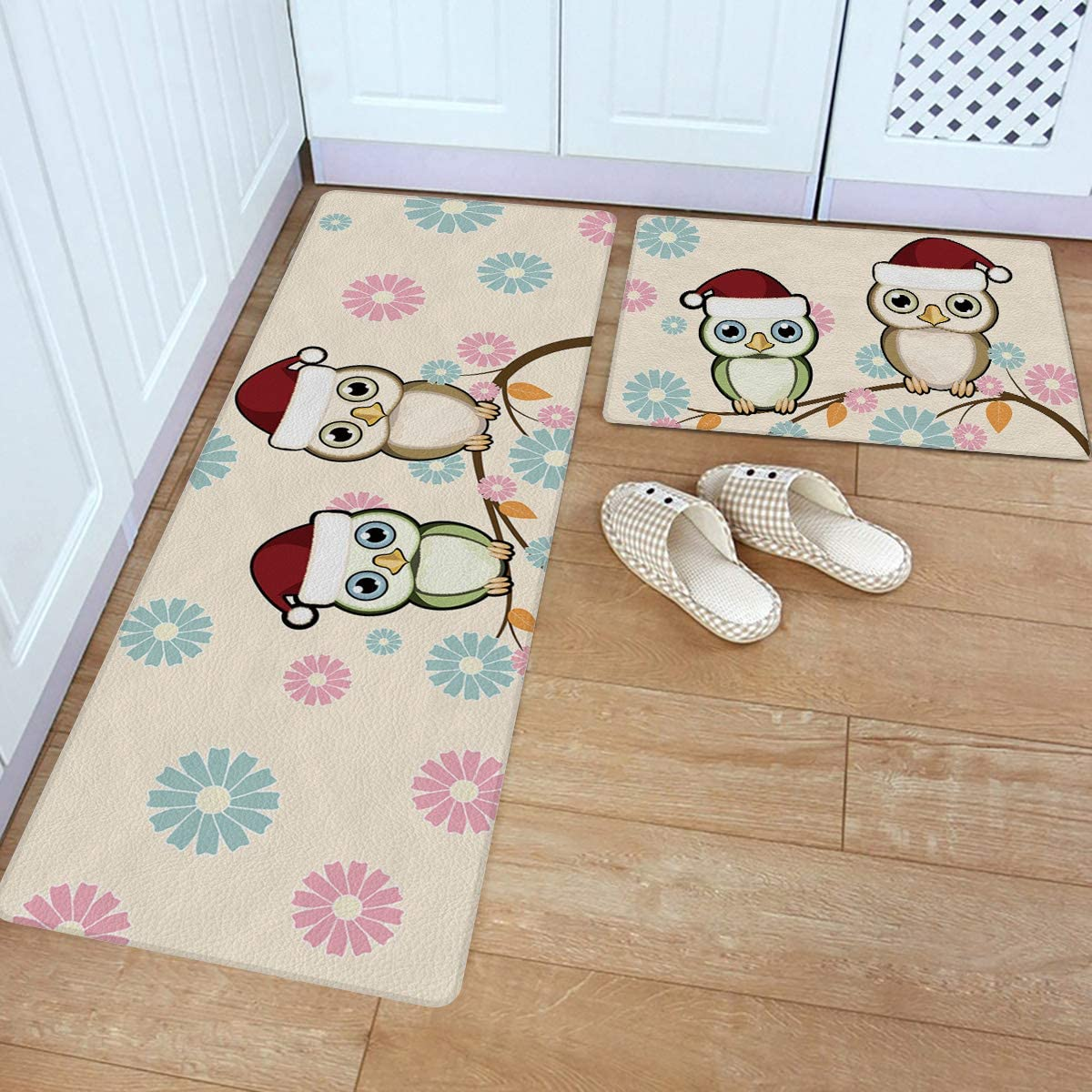 Max 76% OFF 2 Piece Kitchen Rugs Set New Orleans Mall Standing Christmas Mats Leather Theme