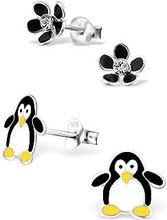925 Sterling Silver Hypoallergenic Set of 2 Pairs Black Flower & Penguin Stud Earrings for Girls and Women (Nickel Free) 20787