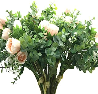 """Aisamco 2 Pcs Artificial Bouquet Assorted Flowers Fake Rose Baby's Breath Eucalyptus Branches 13.8"""" Tall for Table Home Office Decor Wedding Floral Arrangement Bridesmaid Bridal Bouquet"""