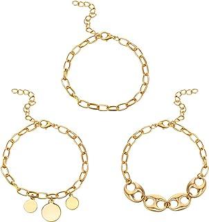 3 قطع أساور ذهبية للنساء مجموعة من أساور ورقي سلسلة أساور من الفولاذ المقاوم للصدأ قابل للتكديس أساور مجوهرات الحد الأدنى