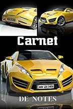 Carnet de notes: voiture de Sport jaune   pour les passionnés d'automobiles, de vitesse et de course   format 15 x 23 cm  ...