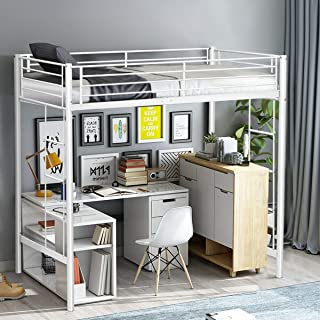 Twin Loft Bed Metal Bunk Ladder Beds Boys Girls Teens Kids Bedroom Dorm White