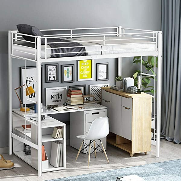 Twin Loft Bed Metal Bunk Ladder Beds Boys Girls Teens Kids Bedroom Dorm White