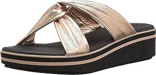 Skechers Womens 38955 Hushhush - Camp Summer - Metallic Cross Strap Slide Sandal Gold Size: