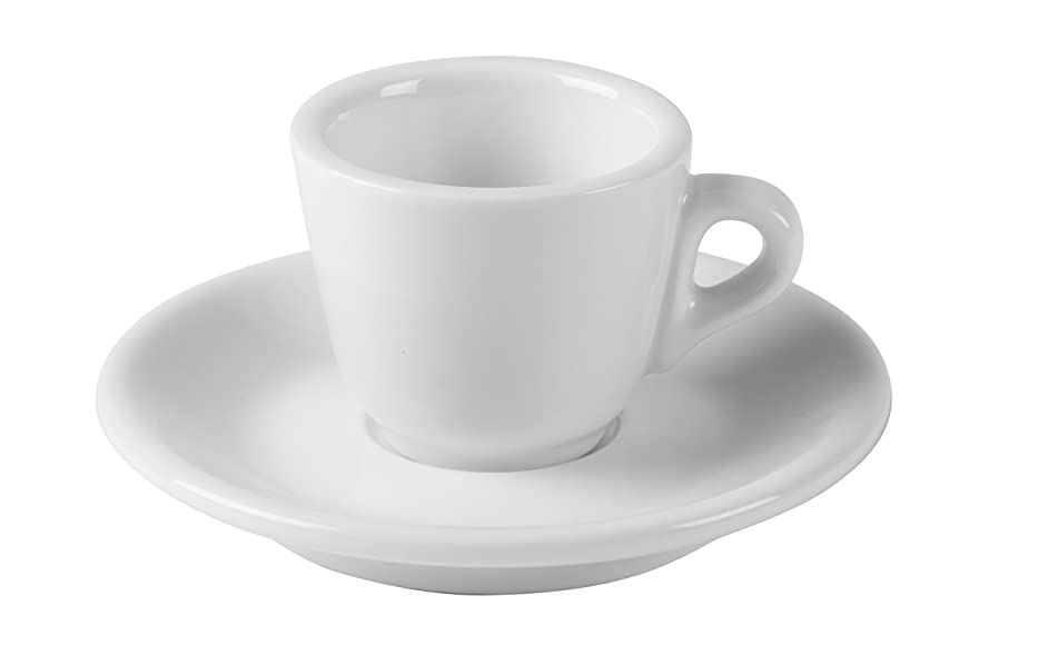 JoeFrex Porcelain Espresso Cups with Saucers - 2oz 60ml for Specialty Coffee Drinks- Set of 6, White