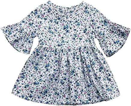 Girls Dresses SHOBDW Good Material 2019 Fashion Toddler Baby Girls Clothes Half Sleeve Summer Floral Print Ruffles Dress Skirt Outfits