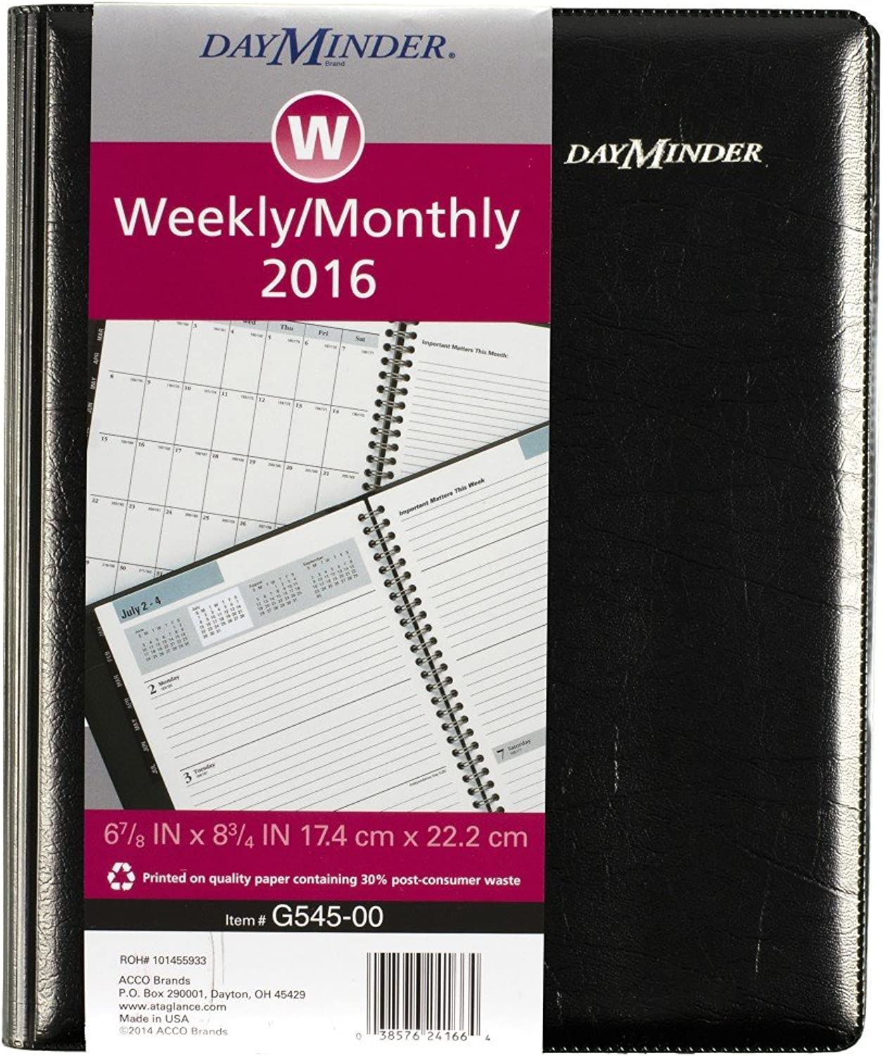DayMinder DayMinder DayMinder Executive Planner 2016, Weekly Monthly Planning, 6.88 x 8.75 Inches Page Größe, schwarz (G5450016) by DayMinder B00WUUJEMI | Outlet
