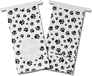 16oz Paw Print Bags, Tin Tie Coffee, Treat, Tea, Food Stand Up Pouches, Reusable, 1lb Resealable Paper Storage Container W/Heart Stickers (50)