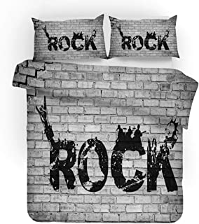 Earendel Rock Series Duvet Cover Set Rock Band Bedding Rock Music Bass Guitar Bed Sets 2/3/4PCS Colorful Quilt Covers/Sheets/Pillowcases,Twin/Full/Queen/King Size (5,Full-200x229cm-4PCS)