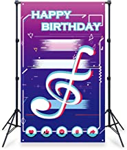 Birthday Party Banner Musical Themed Supplies Backdrop Decoration Happy Birthday House Door Decoration Photograph Backgrou...