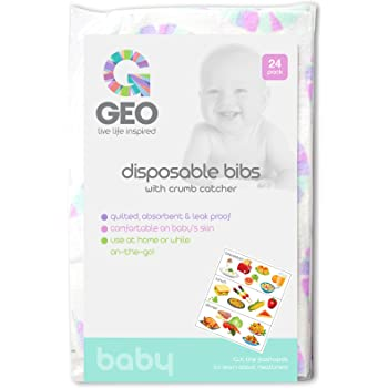 Disposable Bibs | Mess Free Feeding with Crumb Catcher | Perfect for Home or Travel | Adjustable Fit for Any Baby, Infant, or Toddler | Pack of 24