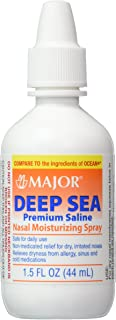 Deep Sea Saline Nasal Spray Generic for Ocean Nasal Moisturizing Spray 1.5 oz per Bottle Pack of 12 Bottles