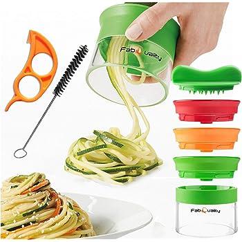 Compra Cortador en espiral, manual, para hacer espaguetis de verduras y patatas, pelador de espárragos, cortador de pepinos, rallador de zanahorias, rallador de verduras en Amazon.es
