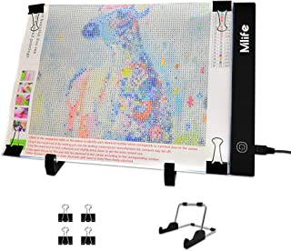 Mlife Diamond Painting A4 LED Light Pad - Dimmable Light Board Kit, Apply to Full Drill & Partial Drill 5D Diamond Painting with Detachable Stand and Clips