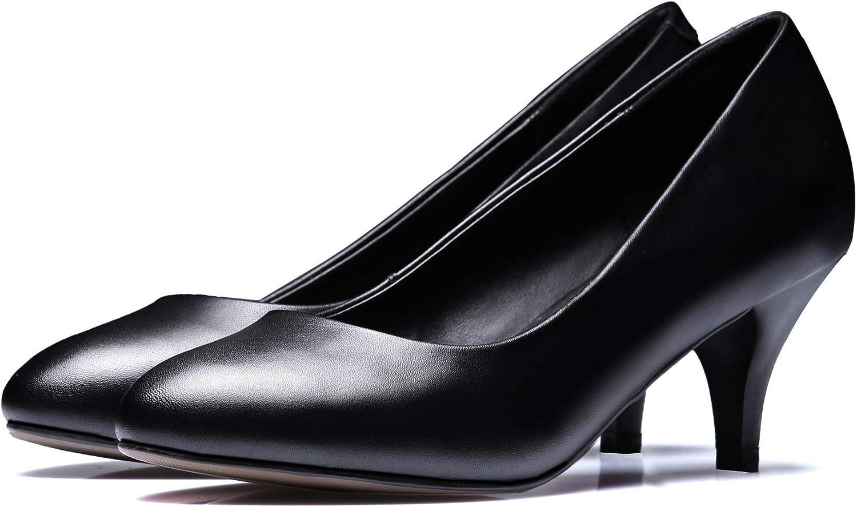 HOESCZS Frauen Schuhe Herbst Und Winter Flacher Mund Einzelne Schuhe Weibliche Spitzen Stiletto Einfache Pendler Schuhe Schwarz Professionelle Arbeit High Heels
