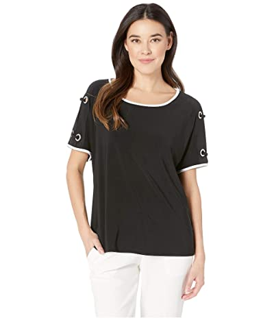 Tribal Pack and Go Travel Jersey Short Sleeve Dolman Top w/ Eyelet Detail (Black) Women
