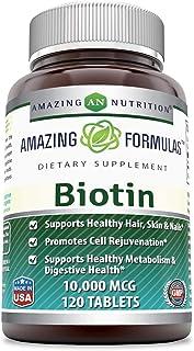 Amazing Formulas Biotin 10000Mcg,120 Tablets (Non GMO,Gluten Free) -Supports Healthy Skin & Hair–Promotes Overall Good Health