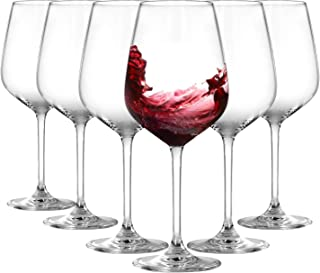 Crystal Red Wine Glasses Set of 6 - Lead-Free Premium Crystal Clear Glass - Wine Glass Gift Set with Glass Markers, Bottle...