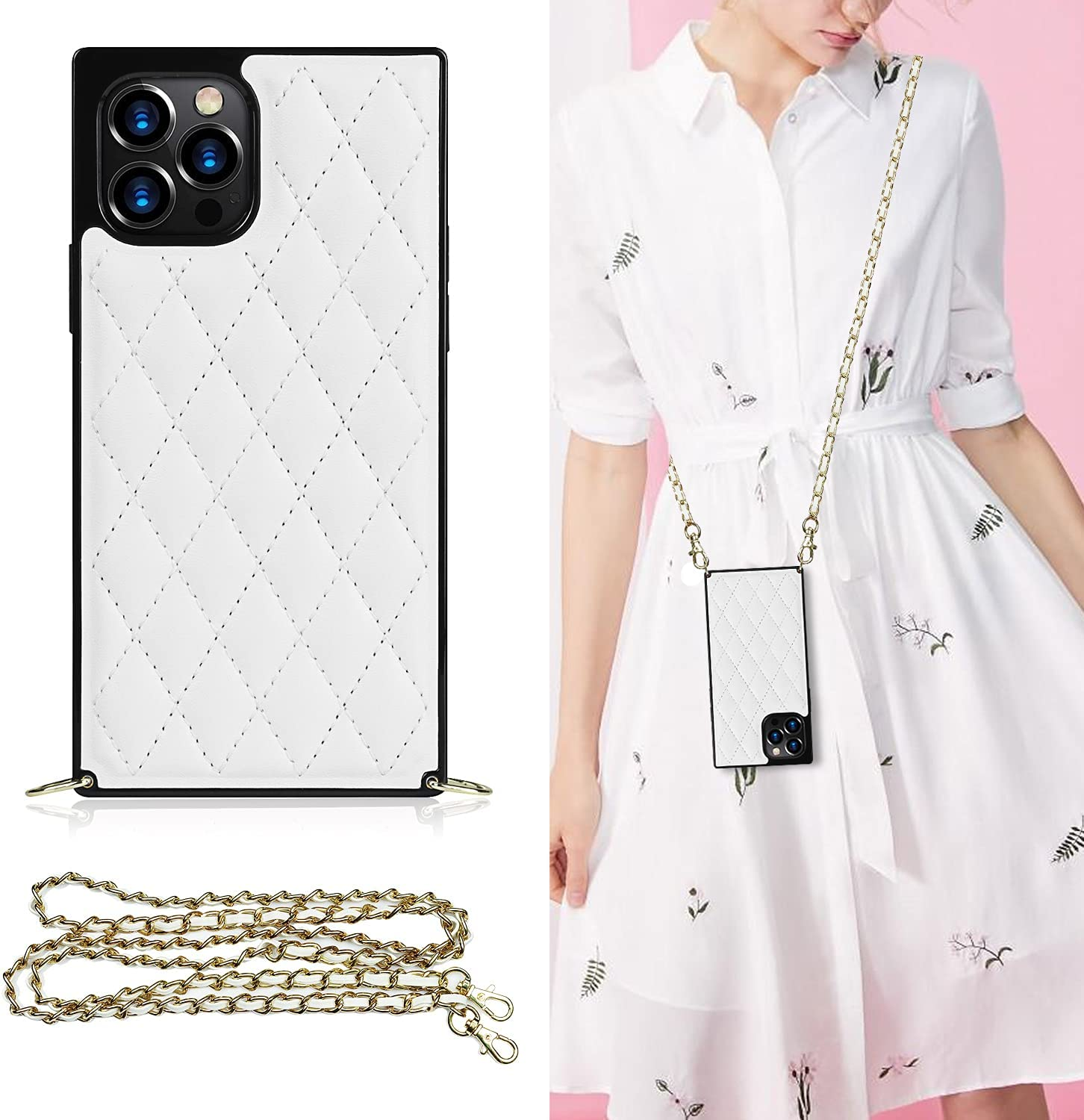 LUVI Compatible with iPhone 11 Pro Square Case for Women with Crossbody Neck Strap Lanyard Purse Handbag Shoulder Strap Protective Cover PU Leather Cute Fashion Case for iPhone 11 Pro White