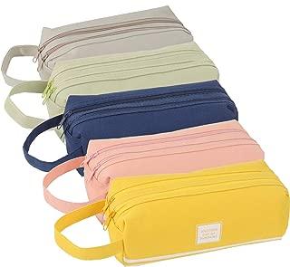 SUBANG 5 Pieces Large Capacity Canvas Pencil Case Pen Storage Double Zipper Closure Office Pen Holder Organizer Stationery Bag Cosmetic Bag