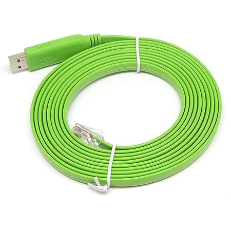 KAUMO USB RJ45 シリアル コンソールケーブル FTDI チップ(Cisco Juniper などに対応) (3.6m, グリーン)