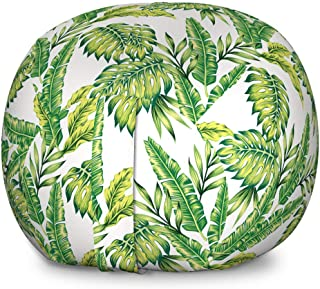 Ambesonne Jungle Storage Toy Bag Chair, Bamboo Palm Plants Jungle Colored Exotic Leaf Foliage Tropical Forest Theme, Stuffed Animal Organizer Washable Bag for Kids, Large Size, Lime and Fern Green