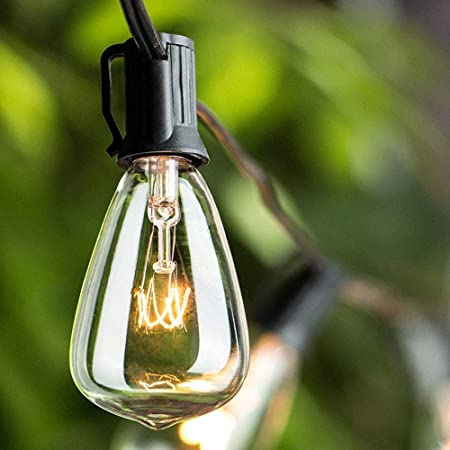 Romasaty 25FT ST35 Outdoor Patio Edison String Lights with 27Clear Bulbs -5 Watt/120 Voltage/E12 Base -Black Wire