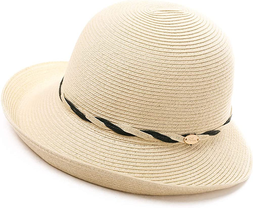 Fancet Packable Beach Rolled Brim Straw Panama Cloche Derby Summer Sun Hat String for Women