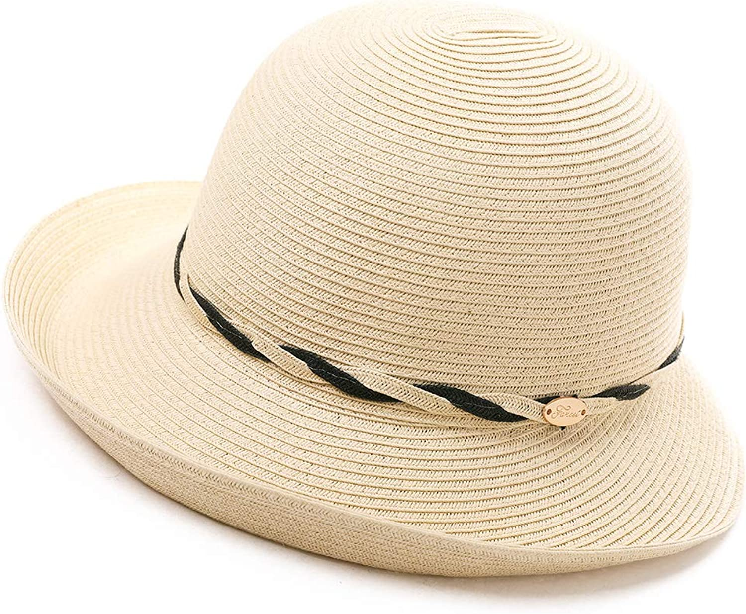 Packable Womens Short Brim Straw Fedora Sun Hat Summer Beach Cloche SPF 5558cm